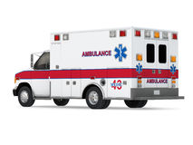 Ambulance Car  on White Background. Back Perspective View Stock Photo