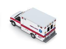 Ambulance Car  on White Background. Isometric Back View Royalty Free Stock Image