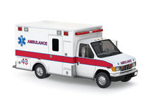 Ambulance Car  on White Background. Perspective Top View Stock Photos
