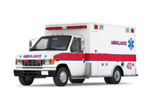 Ambulance Car  on White Background. Perspective View Royalty Free Stock Image