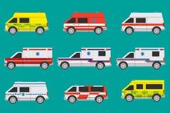 Ambulance cars. International ambulance cars with different painting Stock Photo