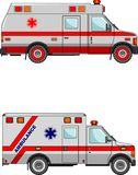 Ambulance cars isolated on white background in Royalty Free Stock Photography