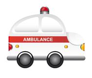 Ambulance cartoon. White ambulance cartoon with red light vector illustration Royalty Free Stock Photography