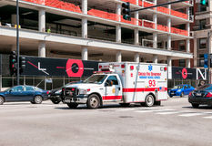 Ambulance of Chicago Fire Department. CHICAGO, UNITED STATES - AUGUST 25, 2014: Ambulance of Chicago Fire Department on the road royalty free stock photo