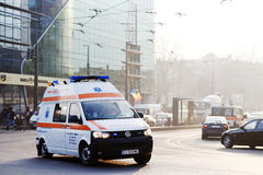 Ambulance in Cluj Napoca. December 9, 2016, Cluj Napoca, Romania: Ambulance in traffic in Cluj Napoca city,Romania stock photo