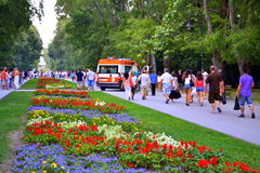Ambulance at colorful park alley. Dramatic contrast between peaceful view of people walking in the beautiful park and stopped ambulance with siren Stock Photo