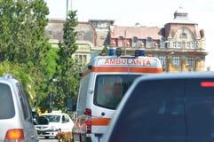 Ambulance. Detail of ambulance in traffic Stock Image