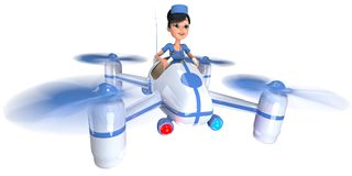 Ambulance. Doctor girl flying on a quadrocopter. 3D illustration Royalty Free Stock Images