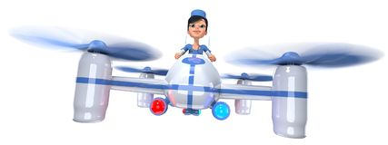 Ambulance. Doctor girl flying on a quadrocopter. 3D illustration Stock Photo