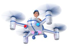 Ambulance. Doctor girl flying on a quadrocopter. 3D illustration Stock Images