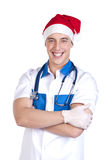 Ambulance doctor in a red hat Royalty Free Stock Image