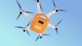 Ambulance drone delivers AED kit for emergency medical care concept. stock footage