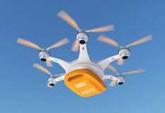 Ambulance drone delivers AED kit for emergency medical care concept. Royalty Free Stock Photos