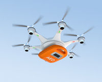 Ambulance drone delivers AED kit for emergency medical care concept. Royalty Free Stock Images