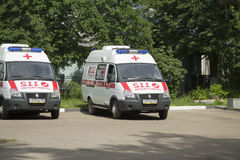 The ambulance. The ambulance is on duty at the clinic Royalty Free Stock Photo