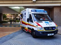 6 2 2021 Ambulance on duty near a residential building in Hong Kong, China