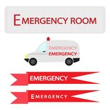 Ambulance with Emergency Banner on White Background Royalty Free Stock Photography