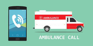 Ambulance emergency call vehicle. Illustration vector concept Stock Photography