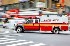 Ambulance on emergency car. In motion blur stock photos