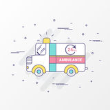 Ambulance emergency car  Images. Modern thin linear stroke. For graphic health care, web site header and mobile apps. Vector Stock Photography