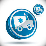 Ambulance emergency 3d car icon. Stock Images