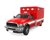 Ambulance Emergency Fire Truck Isolated. On white background. 3D render Royalty Free Stock Photo