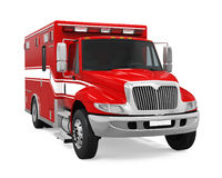 Ambulance Emergency Fire Truck Isolated. On white background. 3D render Royalty Free Stock Photos