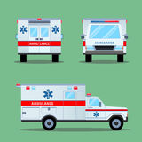 Ambulance Emergency Icon. Back, Front, Side View. Royalty Free Stock Images