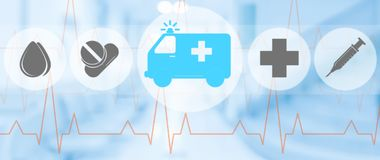 Ambulance and emergency icon on blue background. Ambulance and emergency service icon on blue background. Medical concept Royalty Free Stock Photo