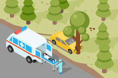 Ambulance. Emergency medical accident evacuation. Emergency, medical ambulance, accident evacuation, medicine evacuation service, evacuation vehicle. Vector stock illustration