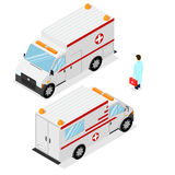 Ambulance Emergency Medical Car. Isometric View. Vector Royalty Free Stock Photos