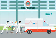 Ambulance emergency medical evacuation accident. Ambulance emergency medical evacuation accident with carry patient bed on hospital background, vector Royalty Free Stock Photo