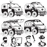 Ambulance emergency police fire truck bus. Vector illustration of ambulance, emergency, police, fire, truck, bus black icons Stock Photography