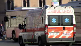 Ambulance in emergency in Rome downtown stock video