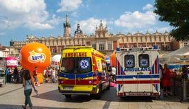 Ambulance Emergency 911. Ambulance Emergency before the Sukiennice on The Main Market Square in Krakow Stock Image