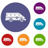 Ambulance emergency van icons set. In flat circle red, blue and green color for web Royalty Free Stock Photography