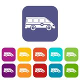 Ambulance emergency van icons set flat. Ambulance emergency van icons set vector illustration in flat style In colors red, blue, green and other Royalty Free Stock Images