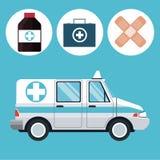 Ambulance emergency vehicle medicine icons Royalty Free Stock Images