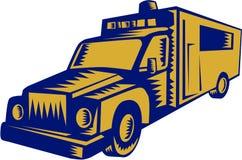 Ambulance Emergency Vehicle Truck Woodcut Stock Photography