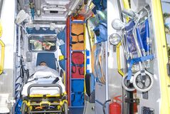 Ambulance equipament with dummy Royalty Free Stock Photography