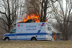 Ambulance at a Fire Department Training Fire Stock Photos