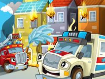 The ambulance and fire truck action - illustration for the children. The happy and colorful illustration for the children Royalty Free Stock Photography