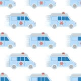Ambulance first aid car pattern seamless repeat in cartoon style emergency medicine rescue siren transportation vector. Illustration. Hospital safety support Stock Photos