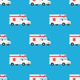 Ambulance first aid car seamless pattern. Emergency, rescue transportation. Vector illustration Royalty Free Stock Image