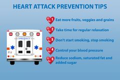 Ambulance and five steps of heart attack prevention vector. Health care presentation showing ambulance and five steps of heart attack prevention. All on the blue vector illustration