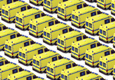 Ambulance Fleet. Fleet of yellow ambulances background - These are real vehicles, not toys Royalty Free Stock Images