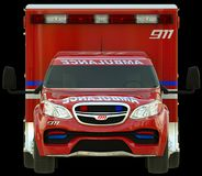 Ambulance: Front view of emergency services vehicle. Over white Royalty Free Stock Photos