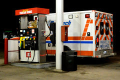 Ambulance at Gas Station royalty free stock photography