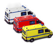 Ambulance group. Ambulances group isolated on white - Yellow, Red and white - These are real vehicles, not toys Royalty Free Stock Images