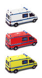 Ambulance group. Ambulances group isolated on white - Yellow, Red and white - These are real vehicles, not toys Stock Photo